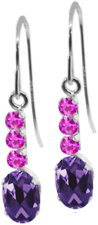 1.20 Ct Oval Purple Amethyst Pink Sapphire 10K White gold Earrings