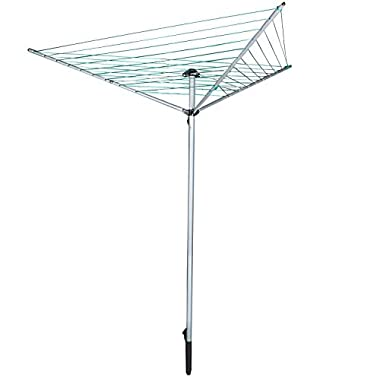Jusdreen Essentials Clothesline Collapsible Drying Rack 9-line Umbrella Style Clothes Hanger Retractable Clothes Rotary Dryer with Parallel Line Hang Wet or Dry Laundry Silver - 98.42 feet