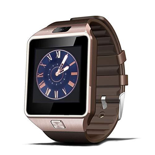 XUEMEI Smart Watch for Men SmartWatch Bluetooth Connect Guarda Orologio da Uomo Android Telefonata TF Card SmartWatch Reloj Intelige (Color : Gold)