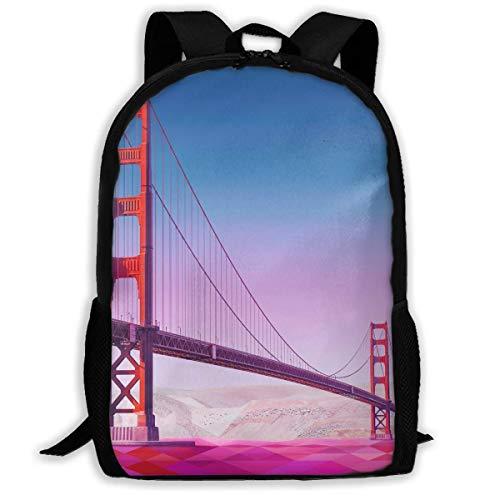 Hui-Shop Sac à Dos de Voyage Sac à Dos pour Ordinateur Portable Grand Sac à Couches - Golden Gate Bridge Backpack School Backpack pour Femmes et Hommes