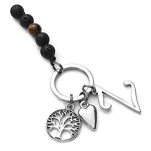 Z Initial Keychain Letter Aromatherapy,Lava Rock Keychain Letter Pendant with Key Ring