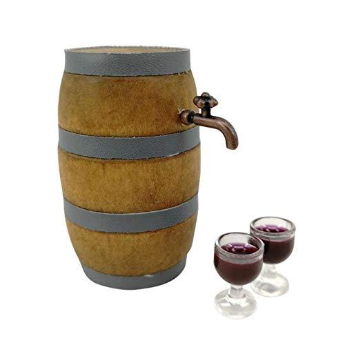 Suministros Miniatura 1set Rojo del Barril De Vino Conjunto Bodega Decoración Pub Bar Party Decor con El Grifo Y El Vidrio De Vino