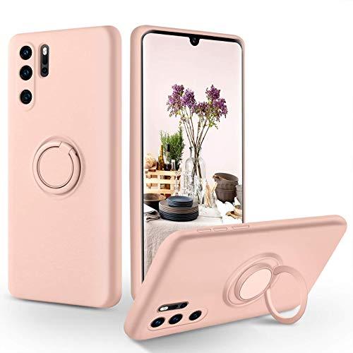 SouliGo Huawei P30 Pro Hülle, Huawei P30 Pro Handyhülle Silikon Gel Slim Hülle Cover mit Ring Halter Ständer stabil Kratzfest Hülle für Huawei P30 Pro/Huawei P30 Pro New Edition Pink