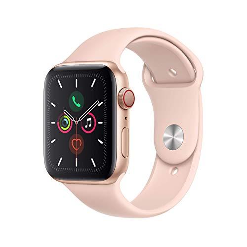 Oferta de Apple Watch Series 5 (GPS+Cellular, 44 mm) Aluminio en Oro - Correa Deportiva Rosa Arena