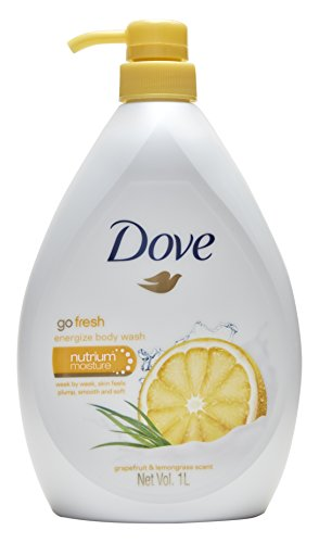 Dove Go Fresh Energize Body Wash, Grapefruit and Lemongrass Scent, 33.8 Ounce (1 Liter) International Version