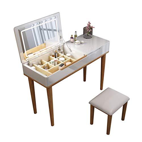 N/Z Tägliche Ausrüstung Kommode Schlafzimmer Schminktisch mit LED Flip Top r Eiche Waschtisch mit gepolstertem Hocker für Mädchen Kinder