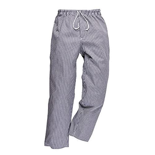 Carbonn – Pantalón de cocina con pie de gallina azul/blanco small