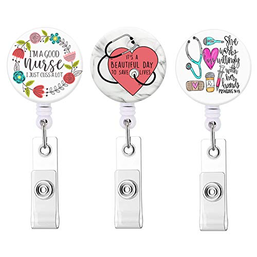 Nurse Badge Reel, Nurse Inspirational Quote It's a Beautiful Day to Save Lives Retractable ID Name Badge Holder Reels with Alligator Clip for Nurse, Doctor - 3 Pack