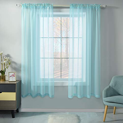 Aqua Voile Sheer Curtains for Kitchen Room 72 Inches Long 2 Panels Rod Pocket Light Filtering Treatment Window Drapes Solid Aqua Blue Sheer Curtains for Girls Bedroom 52 X 72 Inch Length