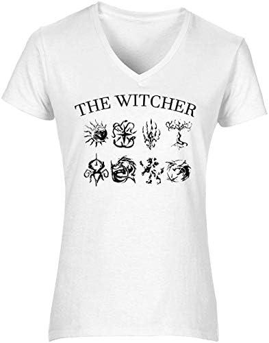 The Witcher Symbols Dragon Wolf Lion Moon Women's T-Shirt V Neck Camiseta Mujer Tshirt