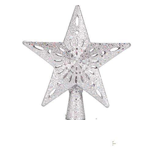 AOZBZ Estrella de árbol de Navidad con Luces proyectoras de Ondas, decoración de árbol Brillante iluminada para Adorno de árbol de Navidad