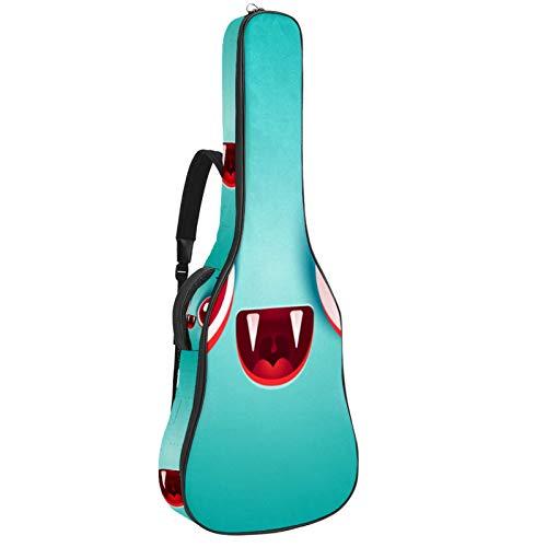 Estuche para guitarra 42.9 pulgadas guitarra acústica en estilo moderno estuche impermeable para guitarra mochila para guitarra acústica Lindos colmillos de ojos grandes 42.9x16.9x4.7 in