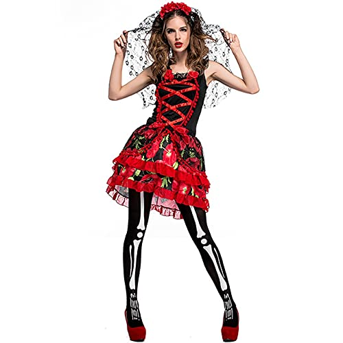 Halloween Party Zombie Ghost Braut Kostüm Fairy Ghosts Braut Kleid (Color : A, Größe : XL)
