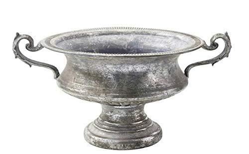 Vase Pokal Amphore auf Fuss Silber Antik Silber Metall D40 - H 21cm