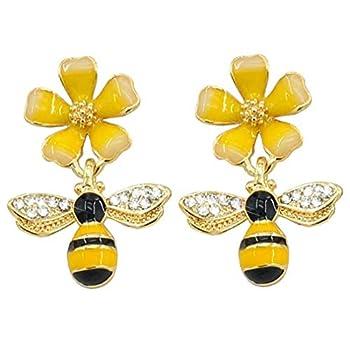 Bee Stud Earring Gold Plated Bee Dangle Drop Stud Earrings for Women Girl Yellow Flower Crystal Jewelry