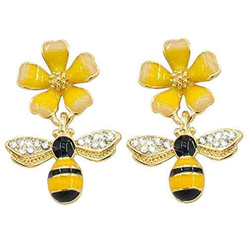 Bee Stud Earring Gold Plated Bee Dangle Drop Stud Earrings for Women Girl Yellow Flower Crystal Jewelry Halloween Gift