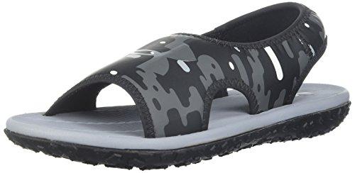 Under Armour Boys' Pre School Fat Tire II Slide Sandal, Black (001)/Steel, 2