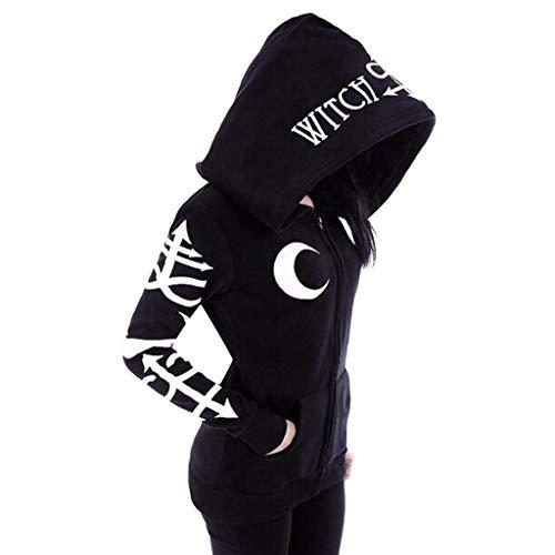 FRAUIT Damen Gothic Punk Kapuzenpullover Schwarz Strickjacke Monddruck Hoodie Sweatshirt Jacke Mantel Kapuzen Sweatjacke Pulli Mode Streetwear Party Freizeit Kleidung Bluse Tops Outwear