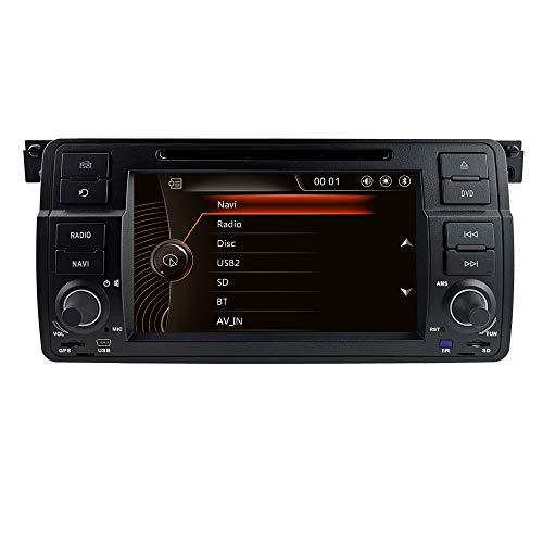 hizpo 7 Zoll 1 Din Auto Stereo Autoradio DVD-Player Passt für BMW 3er BMW E46 Limousine Coupe Cabrio Touring Schrägheck M3 Rover75 MG ZT Unterstützt GPS Navi Blutooth Lenkradsteuerung