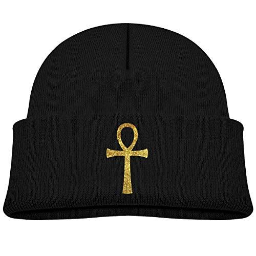 Quintion Robeson Tout-Petit Bonnet égyptien Antique Ankh Or bébé garçon Fille Casquette Slouchy Coton Enfant Chaud crâne Tricot Chapeau
