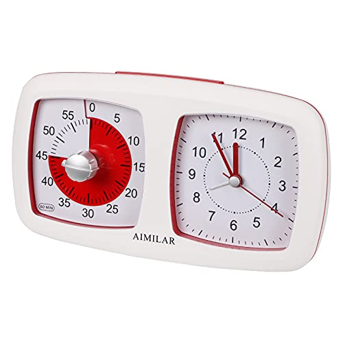 60 Minutes Visual Timer with Alarm Clock - AIMILAR 2-in-1 Silent Countdown Timer Clock Time Management Tool for Kids Students Teachers Home Kitchen Classroom Meeting