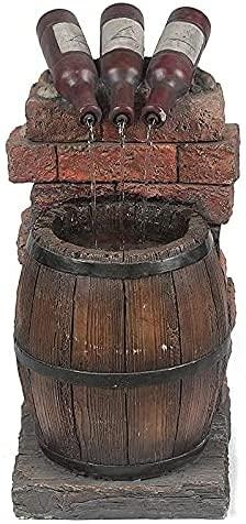 jzxjzx Bottiglia di Vino e Botte in Resina Fontana d'Acqua da Esterno Scultura autoportante per Patio Esterno Giardino Cortile Decking Decor (Il Colore è Marrone)