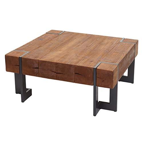 Mendler Couchtisch HWC-A15, Wohnzimmertisch, Tanne Holz rustikal massiv ~ braun 90x90cm