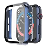 Misxi 2 Pack Hard PC Case with Tempered Glass Screen Protector Compatible with Apple Watch Series 6 SE Series 5 Series 4 44mm, 1 Blue + 1 Transparent