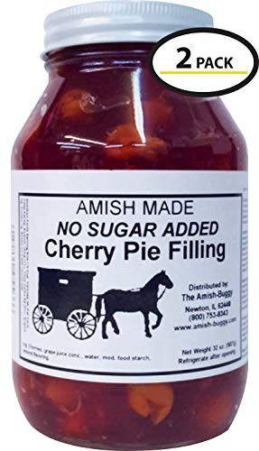 Amish Pie Filling No Sugar Added Cherry - TWO 32 Oz Jars
