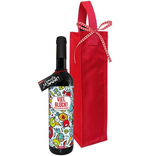 STEINBECK Wein Viel Glück für alles was du vorhast trockener Rotwein aus Spanien100% Tempranillo Valdepenas Geschenk Mitgebsel Geburtstag Freundin Freund modern Vögel