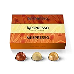NEW indulgent flavored Nespresso coffee blends inspired by our classic favorites :This assortment of Nespresso OriginalLine espresso coffee pods contains a variety of Nespresso capsules: 10 Caramel Cookie, 10 Vanilla Custard Pie, 10 Hazelino Muffin I...