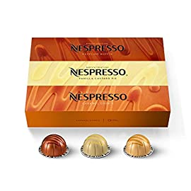 Nespresso capsules vertuoline, barista flavored pack, mild roast coffee, 30 count coffee pods, brews 7. 8 ounce 2 new indulgent flavored nespresso coffee blends inspired by our classic favorites: with caramel cookie, you're sure to taste the classic caramel aroma through all the nespresso capsules, but can you also pick up the notes of coconut, almond and biscuit intensity 6: split roast, the brazilian beans are roasted medium dark and quickly to develop their sweetness, the second split gives this flavored coffee its velvety texture in all the nespresso pods and we add the caramel flavor in after roasting caramel cookie coffee brews 7. 8 oz: these nespresso vertuoline pods provide you with a 7. 8 oz serving of coffee which is perfect for a longer drinking experience