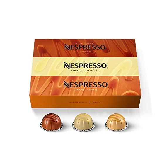 Nespresso Capsules VertuoLine, Barista Flavored Pack, Mild Roast Coffee, 30 Count Coffee Pods, Brews 7.8 Ounce 1 NEW indulgent flavored Nespresso coffee blends inspired by our classic favorites: With Caramel Cookie, you're sure to taste the classic caramel aroma through all the Nespresso capsules, but can you also pick up the notes of coconut, almond and biscuit INTENSITY 6: Split roast, the Brazilian beans are roasted medium dark and quickly to develop their sweetness, the second split gives this flavored coffee its velvety texture in all the Nespresso pods and we add the caramel flavor in after roasting CARAMEL COOKIE COFFEE BREWS 7.8 OZ: These Nespresso VertuoLine pods provide you with a 7.8 OZ serving of coffee which is perfect for a longer drinking experience