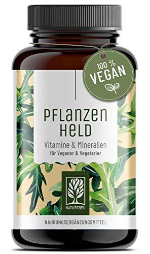 PFLANZENHELD Vegan Multivitamin Kapseln - Einführungspreis - 120 Kapseln für Veganer und Vegetarier - Daily Vitamins mit B12, Eisen, Zink, Calcium, Magnesium & Vitamin A - Hergestellt in Deutschland
