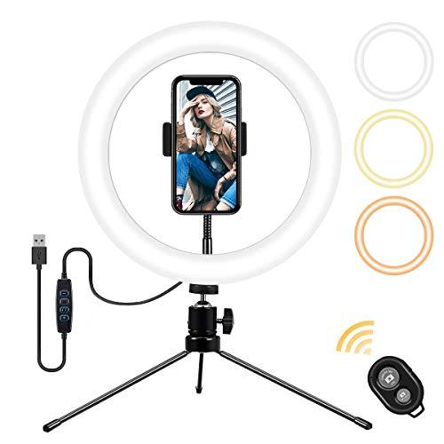 Ringlicht, GLIME Selfie Ringleuchte mit Stativ, 10'' Live Licht mit Fernbedienung & Handyhalter, Tischringlicht mit 3 Farbe 11 Helligkeitsstufen USB-Lade 120 Lampen für schöne Fotos, Live Streaming