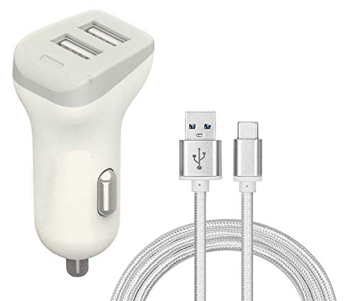 Sweet Tech Car Charger 2.4A Adapter Dual Port USB Lighter Cigarette + Micro USB Cable - White for iMan Victor