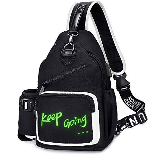 EssFeeni Sling Bag mit USB-Kopfhörerloch Nylon Multi Taschen Männer Brusttasche Frauen Schulter Crossbody Tasche