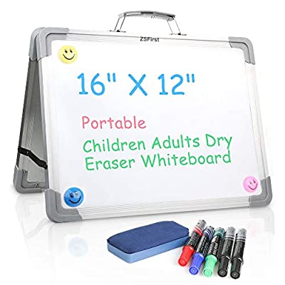 """Dry Erase White Board,16""""x12""""Magnetic Double Sided Foldable White Board,Erase Board for Small Group Instruction,Portable Tabletop Easel for Kids Education with 5 Markers,3 Magnets,1 Board Eraser"""