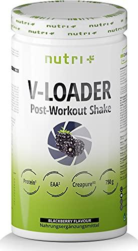 Recovery Shake Blackberry - V-Loader After-Workout Supplement Vegan - 750g Brombeere Pulver - Kohlenhydrate - Eiweiß-Pulver - EAA - Kreatin-Monohydrat - L-Glutamine