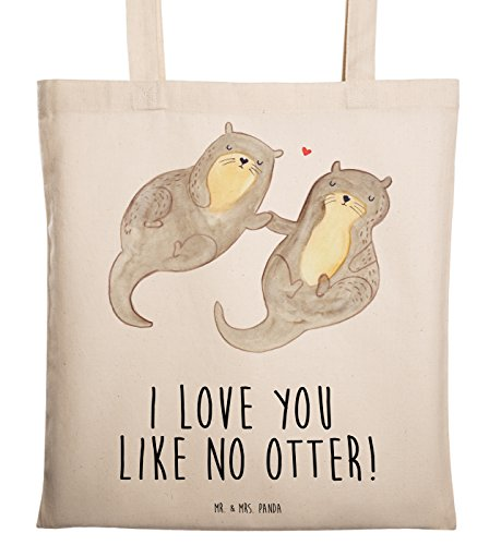 Mr. & Mrs. Panda Jutebeutel, Tasche, Tragetasche Otter händchenhaltend mit Spruch - Farbe