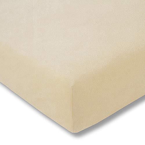 ESTELLA Spannbetttuch Samt-Velours   Natur   Frottee   200x200 cm   passend für Matratzen 180-200 cm (Breite) x 200 cm (Länge)   trocknerfest und bügelfrei   80% Baumwolle 20% Polyester