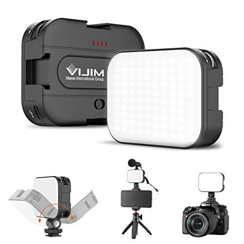VIJIM LED Video Light with 3 Cold Shoe, Rechargeable Soft Light Panel, 2500K-6500K Bi-Color Bright Vlogging Light for Smartphone/DSLR Camera/GoPro, YouTube TikTok Video Shooting, Photography (VL-100C)