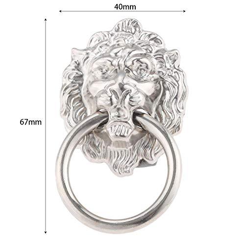 1 Stück Löwenkopf Türklopfer Ring Schublade Ziehen Knöpfe Kommode Ringe Silber Kabinett Ziehen 40 * 67mm