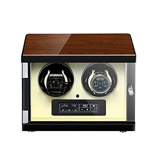 CWCCGGG Devanadera Automática Doble para 2 Relojes Caja De Enrolladoras De Relojes Profesionales con Control Remoto Ébano + Arte De Pintura De Piano + Ventana De Vidrio + Antimagnético