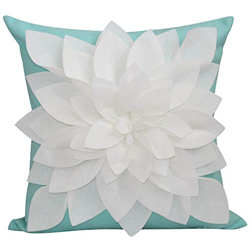 """Flower Pillow - Decorative Throw Pillow – 17"""" Square Flower Pillows – 3D Effect with Dual Colors – Soft & Cotton Canvas – Elegant Handmade – Perfect for Home, Gifts For Her, (Mint/Ivory, Case Only)"""