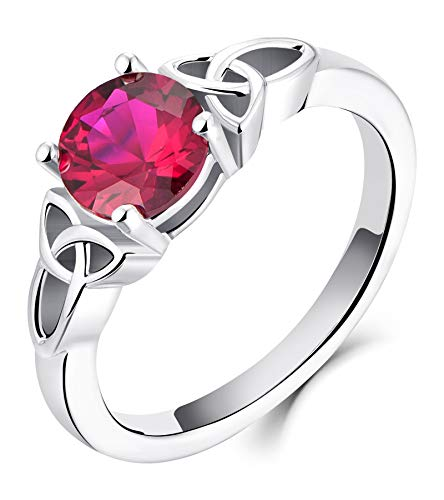 YL Celtic Knot Rings for Women 925 Sterling Silver Created Ruby 18k White Gold Plated Statement Rings-size7