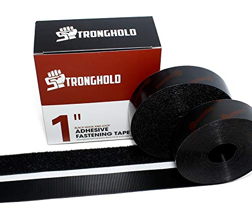 STRONGHOLD 1 Inch x 5 Yard Set - Adhesive Black Hook and Loop Fastener – Sticky Back Mounting Tape