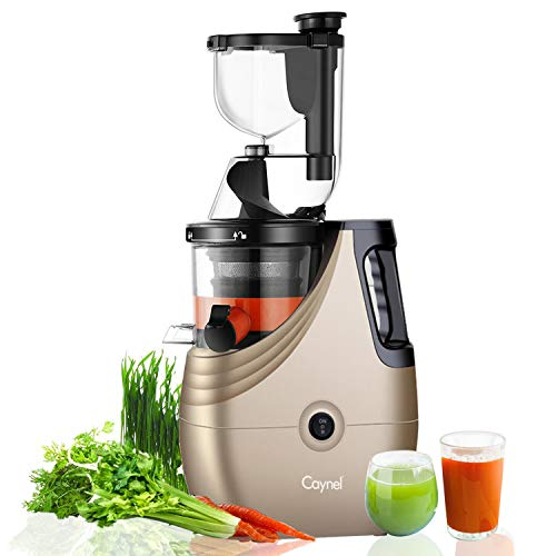 "Slow Masticating Juicer Caynel Cold Press Extractor with 3"" Wide Chute for Fruits, Vegetables and Herbs, Quiet Durable Motor with Reverse Function, Smoothie Strainer Included, High Yield Vertical Juicer Easy Cleaning , BPA Free (Champagne)"
