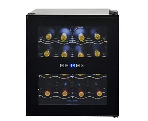 te Weinkühlschrank, Weinkühlschrank, 48 l, Einbaukühlschrank mit 4 Etagen mit LCD-Display, 16 Flaschen für Rotweine, 12 – 18 °C, Weinkühler, Schwarz glänzend, 43 x 49 x 51 cm