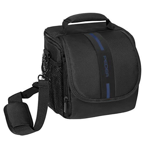PEDEA DSLR-Kameratasche Essex Fototasche für Spiegelreflexkameras mit wasserdichtem Regenschutz, Tragegurt und Zubehörfächern, Gr. M schwarz/blau